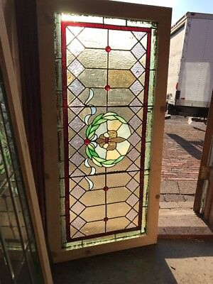 Sg 2194 Antique Stained Glass Transom Window 23.75 X 48.5