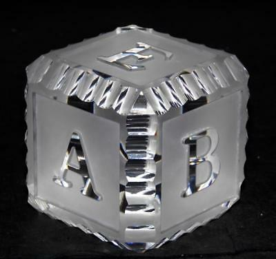 Waterford Crystal Glass Paperweight Frosted ABC Baby Block VERY GOOD CONDITION