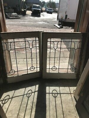 SG 2201 match Pair antique leaded glass windows 20 W by 23.25 hi