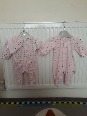 PAIR OF BABY GIRL JASPER AND CONRAN BABY GROWS NEW BORN UP to 81b.