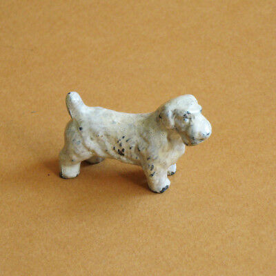 Dog Figurine Terrier Painted Metal Small