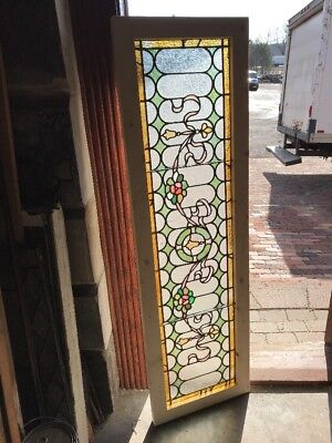 SG 2207 antique beautiful stained glass transom window 18 x 60.5 flowers