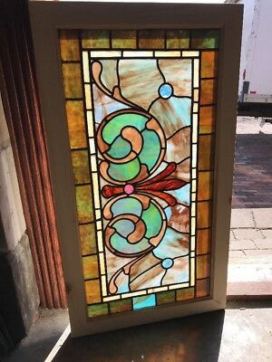 SG 2209 antique stained and jeweled transom window 22.5 x 40.5