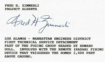 Fred Zimmerli Signed Index Card BAS D84113 WWII Project Alberta Los Alamos