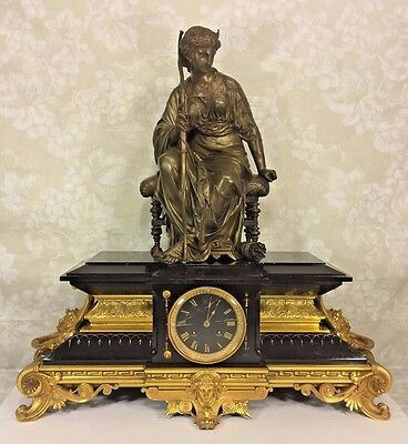 French Houdebine Clock Japes Freres Mvt Bronze Statue Topper Gold Trim Neo Class
