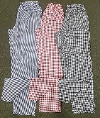 NEW - Chefs / Catering - Check Trousers - 3 Colours - Blue-Red-Black - XS  to XL