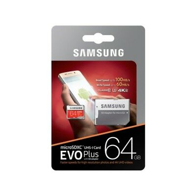 New Samsung Evo Plus 64GB Micro SD SDXC UHS-I U3 Card with Adapter,100MB/s UK