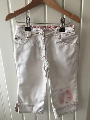 Little Girl's NEXT 2-3yrs - White Flip Flop Theme Cropped Trousers 🎀🎀🎀