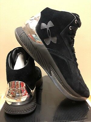 b5e51aabc2ce3 NEW UNDER ARMOUR CURRY 1 LUX MID UA Suede Red Black Basketball Shoes ...