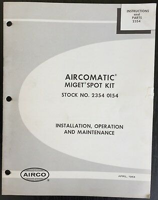 Manual for a Aircomatic Miget Spot Kit Stock 2354 0154 Model AHC-M-M Control