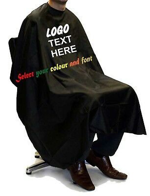 Barber Gown Custom Printed Personalised Cut Hairdressing Salon Barber Cape Black