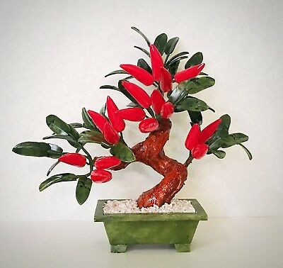 handcrafted Jade and Glass Artificial Red Pepper Bonsai Tree Plant Basket