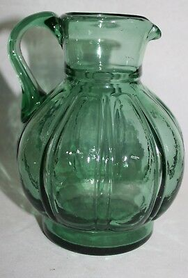 """Antique Mold Blown GREEN Pitcher 6-3/4"""" TALL  w Applied Handle"""