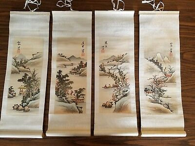 Chinese Hand Painted Signed Scrolls of the Seasons 4 Panels