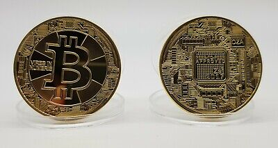 2 x Bitcoin Rare Collectible New Golden Plated Iron Commemorative Coin Gift