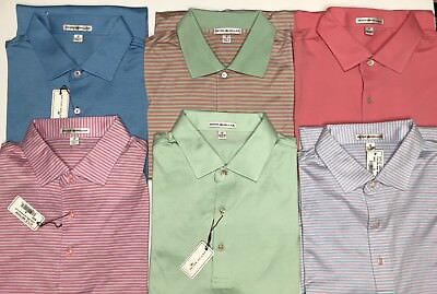 Peter Millar Pink Blue Green Polo Golf Shirt Size M Men's Cotton Striped Solid