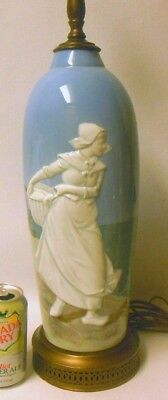 "Amazing Vintage Pate sur Pate LAMP High Relief DUTCH GIRL Windmill Ships 34"" h."
