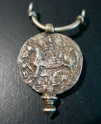 Antique Hindu Silver Amulet of Deity Astride a Horse, 19th c