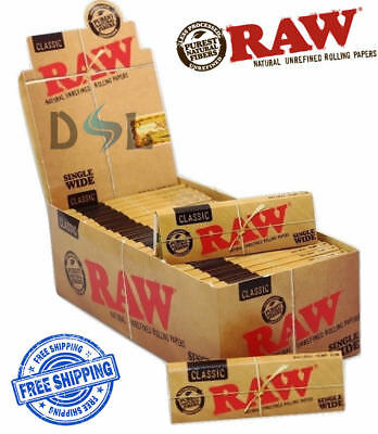 Raw Classic Single Wide Papers Box Normal Standard Regular Natural Rolling Paper