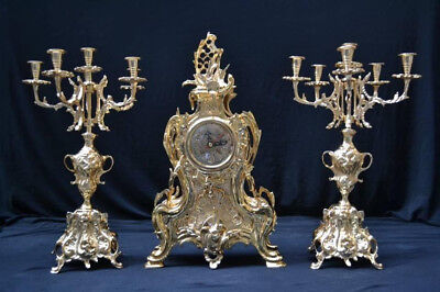 French Victorian 3 Piece Gold Plated Clock Set