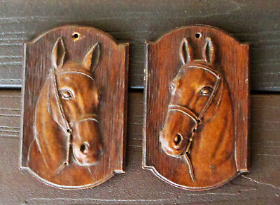 "Vintage Pair Of Small Ornawood Horse Head Plaques 3"" By 4 1/2"""