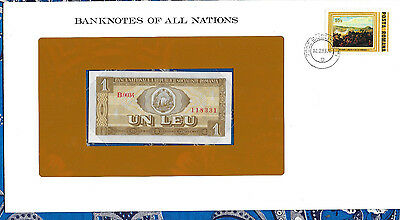 *Banknotes of All Nations Romania 1 Leu 1966 AUNC P91 Serie B.0034*