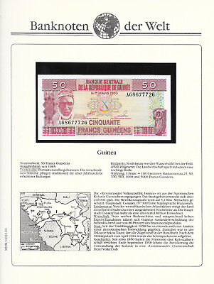 Banknotes of World Guinea 1985 50 Francs P29a GEM UNC Prefix AG