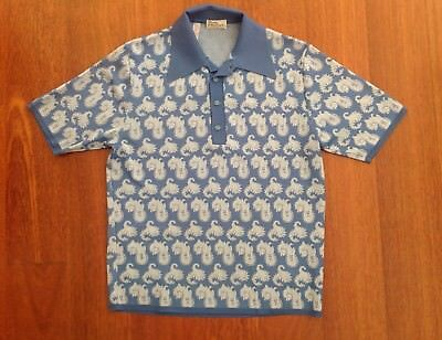 Vintage Gerry Maloof'S Palm Springs Blue Paisley Polo Shirt Circa 60'S Size Med