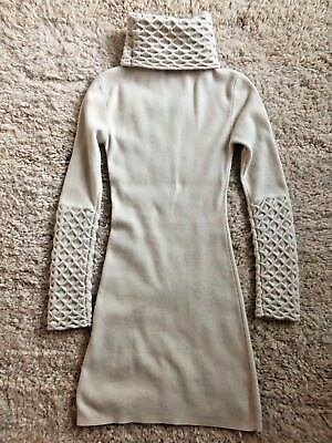 10946277cf Temperley London honeycomb knit wool ivory turtleneck sweater dress size S