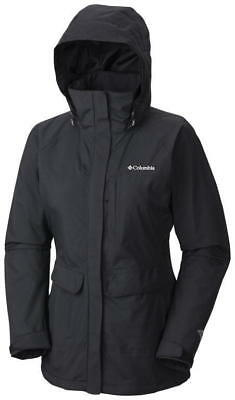 Columbia Longer Miles Jacket, Womens Waterproof, Black, XS