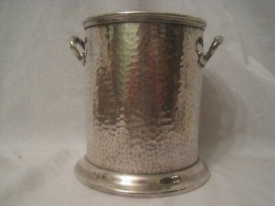 """Mappin & Webb's Prince's Plate hammered antique container 5.5"""" bucket engraved"""