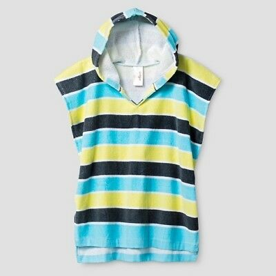 Baby Striped Hooded Towel Cover Up Cat & Jack Aqua Blue Yellow White XS/S 9-18m
