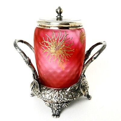 Antique Victorian Art Glass & Silver Plate Jelly Jar Marked Home Decor