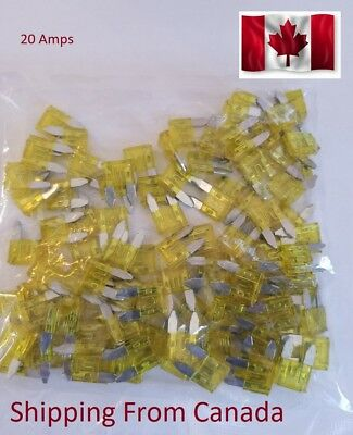 ATM 20 Amp Auto Car Truck Fast-Acting Automotive Mini Blade Fuses (Pack of 50)