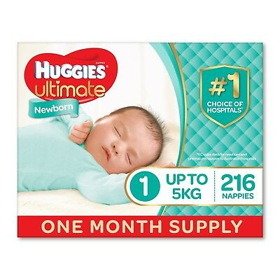 Huggies Ultimate Nappies, Unisex, Newborn Size 1 (Up To 5kg) 216 Count, One-Mont