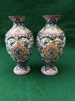 Antique pair of light metal vases with enamel decoration (6.5 inches)