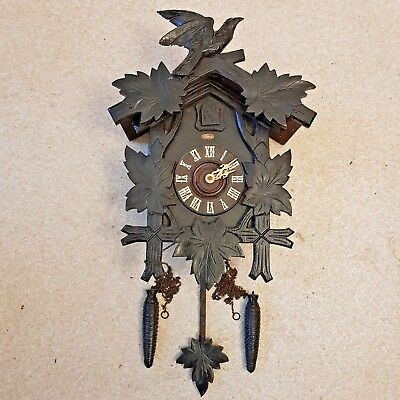 Antique Black Forest Germany Cuckoo Clock Wooden Hand Carved Restore Project #2