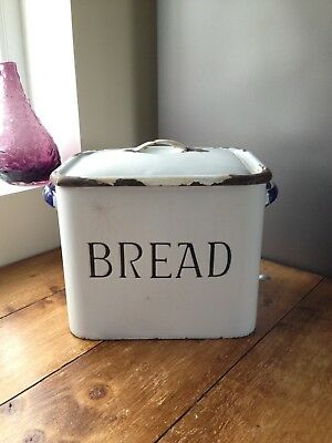 LARGE ANTIQUE 1920's WHITE ENAMEL BREAD BIN STORAGE CONTAINER VINTAGE BAKERY