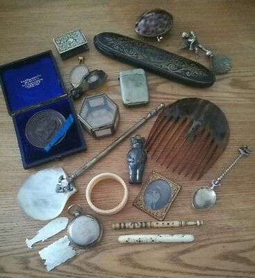 Job Lot Of Antique Victorian Collectables Bits And Bobs