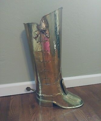 Vtg mid century hammered brass coachman boot w/spur cane/umbrella/ stand SPAIN