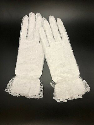 White Floral Sheer Lace Gloves With Ruffle