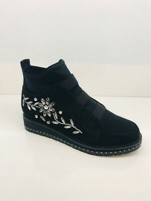 NEW LADIES WOMENS TRANIERS DIAMANTE FLOWER SHOES Ladies Womens Denim Sneaker