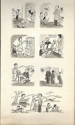 Two Piece Lot Original Art Milt Groth Cartoon Strips 1940s? Vintage