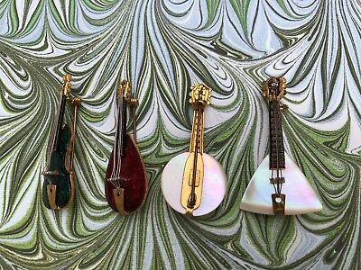 FOUR  Brooch Small Instruments Music Enamel Vintage  Western Germany Detailed