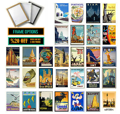 VINTAGE TRAVEL POSTERS, Christmas Gift, Wall Art Print  A3 /A4 +FRAMES