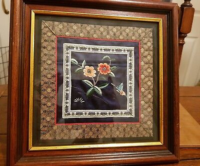 framed silk embroidered panel