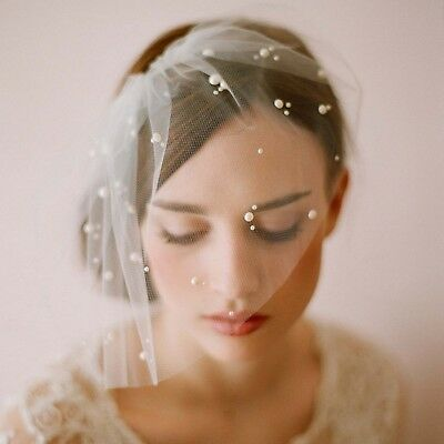 Elegant Ivory Short Tulle Birdcage with Comb Accessories Bridal Pearl Wedding...