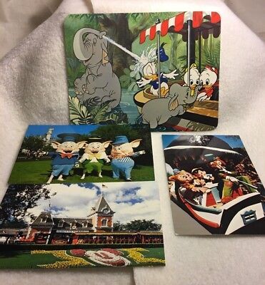 Vintage Disney postcard lot of 4 collectible cards 70's