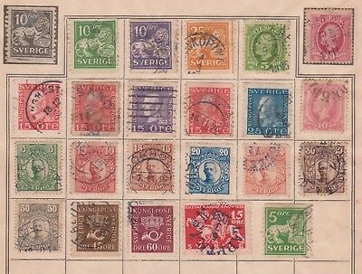(K68-27) 1891-1920s Sweden mix of 22 stamps valued to 60ORE