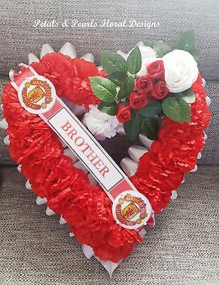 Manchester United Football Funeral Memorial Wreath Tribute Artificial Flowers